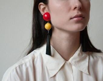 pop art long ball earrings / dangle statement earrings / extra long drop earrings / 1792a