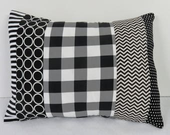 Black White Fabrics - Patchwork Pillow Cover - Baby Toddler Nursery Decor Baby Crib Bedding - Travel - 12 in x 16 in