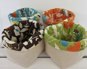 Set of 4 - Mini Fabric Basket Storage Container Organizer Bins - Moda Chrysalis by Sanae / Linen Fabrics - Fall Autumn Thanksgiving Decor