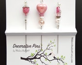 Pink Heart Decorative Pins, Set of 3, Stick Pin, Beaded Pin,Sewing, Cards, Pincushion pins, Quilting, Accessory, Sewing, Scarf Pin, 3C