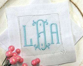 Chinoiserie MONOGRAM Cocktail Napkins. Wedding Gift. Bridesmaids Favor. BAROQUE Font. Housewarming Hostess Gift. Bar Cart Decor.