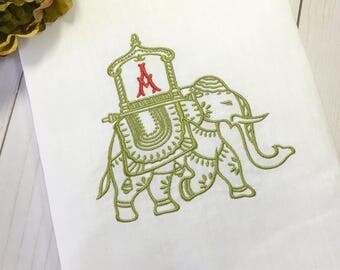 Chinoiserie HOWDAH ELEPHANT Monogram Guest Towel. Personalized Powder Room Decor. Embroidered Linen Tea Towel. Hostess Gift. Boho Decor