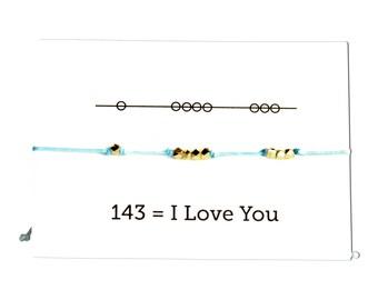 I Love You 143 Cord Bracelet, Valentines Day, - Aqua