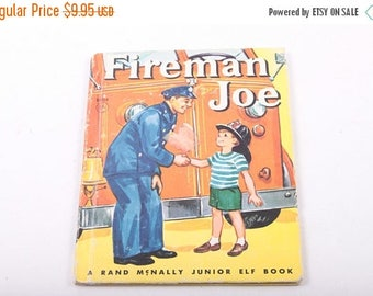 Fireman Joe, Rand McNally, Junior Elf Book, Illustrated, Vintage, Children's Book ~ The Pink Room ~ 160910