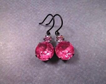 Rhinestone Drop Earrings, Vintage Pink and Amethyst Glass Stones, Gunmetal Silver Dangle Earrings, FREE Shipping U.S.