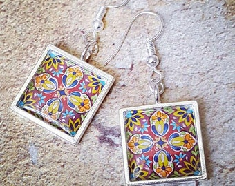 Stained Glass Art Nouveau Earrings