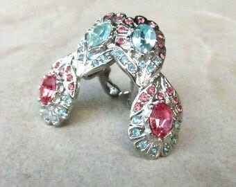 Crystal Rhinestone Stud Clip-On Earrings - Vintage Blue & Pink Silver Pierced ClipOns - Holiday Gift for Her