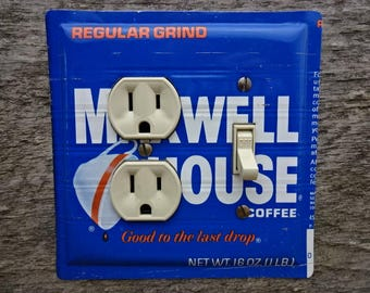 Light Switch Plates Combo Outlet Covers Plate Combination Cover From A Vintage Maxwell House Coffee Tin Kitchen Lighting Decor OLC-1016C-R