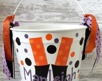 ON SALE Personalized 10 Quart Custom Halloween Bucket - More Designs Available
