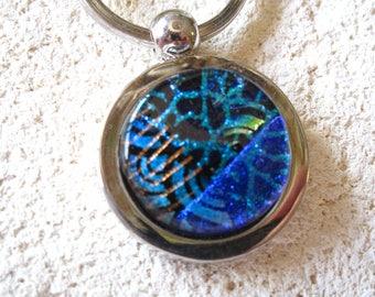 Dichroic Key Ring, Unisex KeyRing, Fused Glass Jewelry, Dichroic Jewelry, Key Chain, Blue Key Ring, Ccvalenzo, Silver Key Chain, 061917kr100