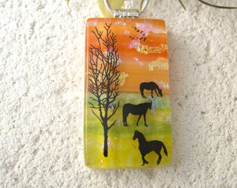 Horse Necklace, Fused Glass Jewelry, Dichroic  Pendant, Dichroic Glass Jewelry, Equestrian Jewelry, OOAK Pendant, ccvalenzo, 091017p101