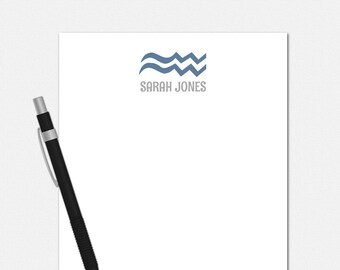Personalized Aquarius Notepad - Zodiac Symbol Notepad - Personalized Notepad for Her - 50 Color Choices - Aquarius Stationery