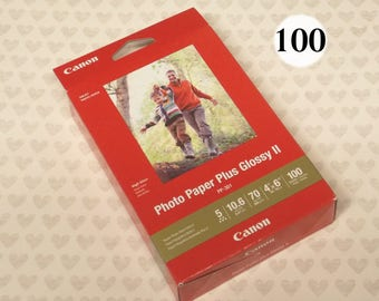 "Canon Photo Paper Plus Glossy II 4x6, 100 Sheets, PP-301 , 4"" x 6"" Glossy Photo Paper, 70 lbs, gloss photo paper sheets 4x6 inch, glossy 2"