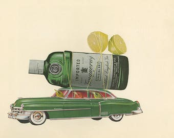 Preferred beverage of the summer tanager.  Original collage by Vivienne Strauss.