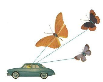 Butterfly transport.  Limited edition print of an original collage by Vivienne Strauss.