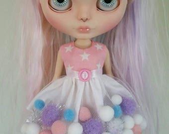 Pink, Purple and Blue starry pom-pom dress for Blythe and Pullip