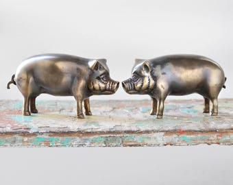 "2 Vintage Brass Pig Figurines - 4"" farm animal figures paperweights with curly tails - dark aged patina"