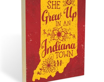"Tom Petty's 'Last Dance With Mary Jane' Inspired Indiana Pride Wooden Wall Art. ""She Grew Up in an Indiana Town."" Ready to Hang Printed Wood"