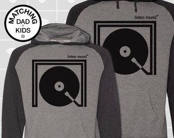 SALE! Matching Dad & Son Listen Round Hoodies | Father Son Matching Shirts | Dad Son Matching Shirts | Music Gift for Dad | Daddy and Me