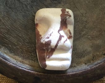 Unique Vintage Marble White & Brown Clay Easter Island Style MOAI Pendant WYSIWYG  MM102