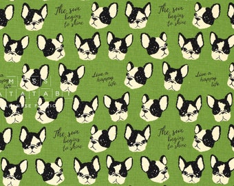 Japanese Fabric Kokka Boston Terriers - green - fat quarter