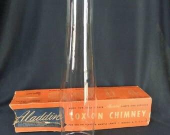 Vintage Aladdin Lox-On Glass Chimney for Models A, B, C or 12 in Original Box