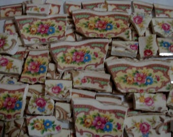 Supplies - Mosaic Tiles  -Chintz - Flowers- Pinks, Blues,Yellow, Broken Plate Tesserae