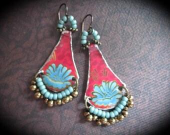 Artisan Tin Earrings, Original Designs, Bohemian Earrings, Gypsy Dangle Earrings. Tin Jewelry, Tin Tray