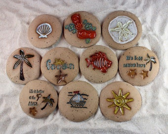 Painted Rocks, Life is Better at the Beach, Palm Tree,Sea Shell, 5:00 Somewhere Set of 10 Ceramic Message Stones, Rock Art, Pocket Stone