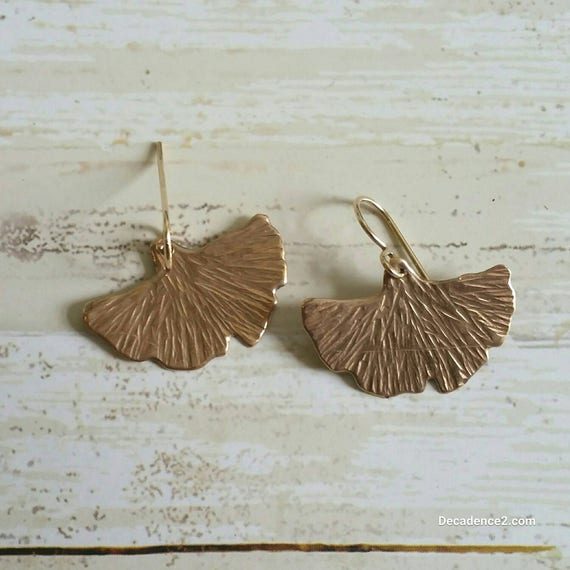 Bronze and Yellow Gold Fill Ginko Leaves Dangle Earrings