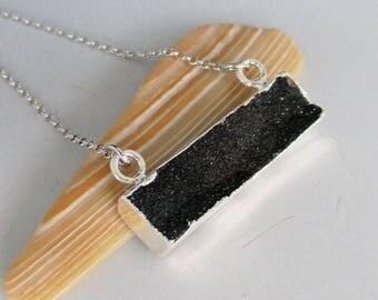 Black Druzy Silver Necklace