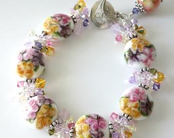 Floral Lampwork Bracelet, Flowers, Topaz Yellow, Lavender, Pink, Swarovski Crystals, Silver Bracelet, Brushed Leaf Clasp, Beaded Bracelet