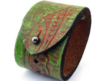Rustic Tooled Leather Cuff Bracelet Wristband, Adjustable Size, Eco Friendly Recycled Belt, Leather Armband, Seattle Handmade, Unisex, OOAK