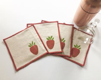 Strawberry Cocktail Napkin Set of Four-Handmade in Seattle- 100% cotton cloth coaster