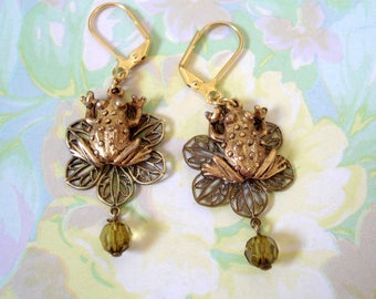 Brass Frog Charm on Bronze Filigree with Green Faceted Crystal, Gold Tone Lever Back Ear Wires