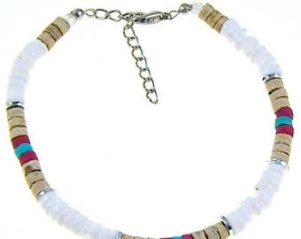 SALE Anklet or Bracelet 4-5mm White Puka Shells Natural Red and Green Coconut Beads Hawaiian Surfer SUP Adjustable Length 5286 6353