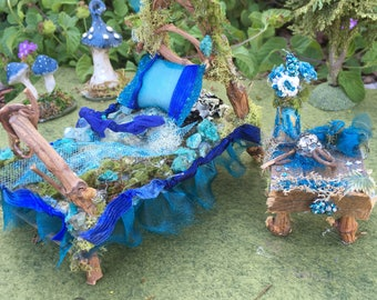 Fairy Furniture Bed with bedside table - Midnight Blue