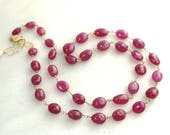"""Reserved...Supreme Pink Sapphire Linked 25"""" Necklace in gold fill..."""
