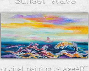 Sale Original painting abstract sea Wave large art landscape painting on gallery wrap canvas Ready to hang by tim Lam 48x24