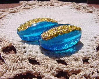 Azure Golden Foil AMAZING Vintage Glass Foil Beads