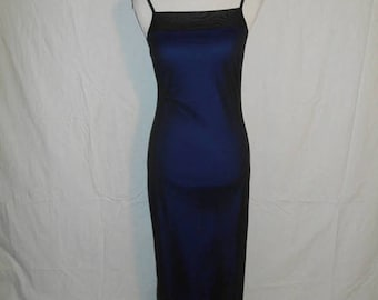 Closing Shop 40%off SALE Vintage long micro mesh dress  90s 1990s  black blue    floral