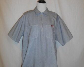 Closing Shop 40%off SALE Ben Davis Monkey Brand Front Zip Collar Blue White Stripe Shirt Mens