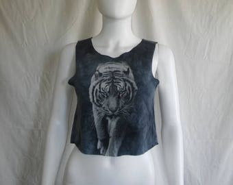 Closing Shop 40%off SALE Tiger Crop top t shirt, tiger tank top shirt, cropped tiger half top XS