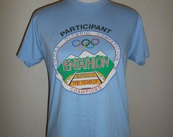Closing Shop 40%off SALE Vintage  80s 1984  USA Olympic     Sierra Competition    t shirt