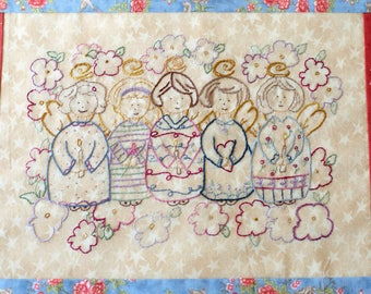 Angel Friends Hand Embroidery Pattern Instant Digital Download