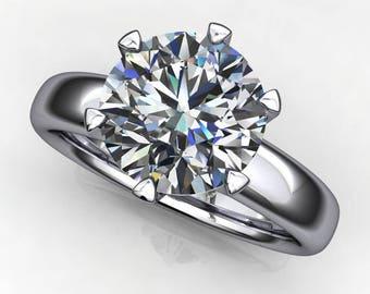 jolie ring – 2.2 carat diamond cut round NEO moissanite engagement ring, colorless moissanite