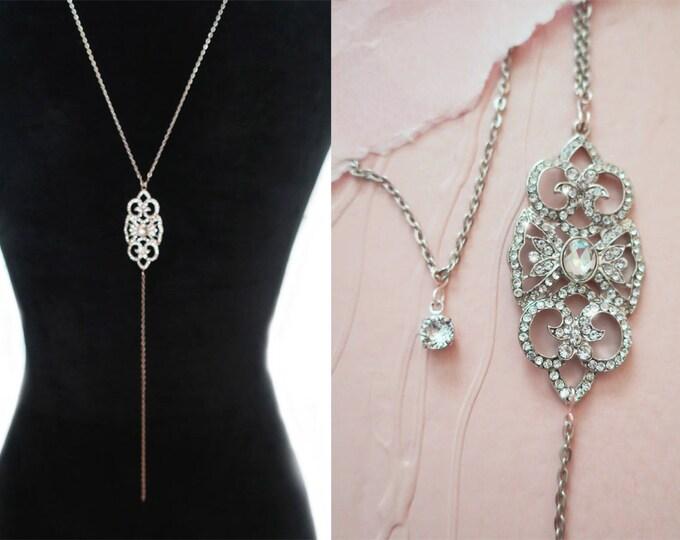 Crystal Bridal Back Necklace AMELIA