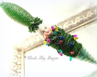 Decorating The Tree Art Doll Ornament Christmas Bulb Light Holiday Tree Decoration Lorelie Kay Original