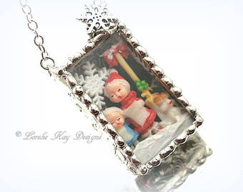 Caroling Necklace Winter Holiday Christmas Necklace Soldered Box Mixed Media One-of-a-Kind Diorama Pendant