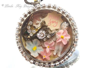 Pure Joy Frozen Charlotte Pocket Watch Necklace One-of-a-Kind Tiny Frozen Charlotte Girly Pink Pendant